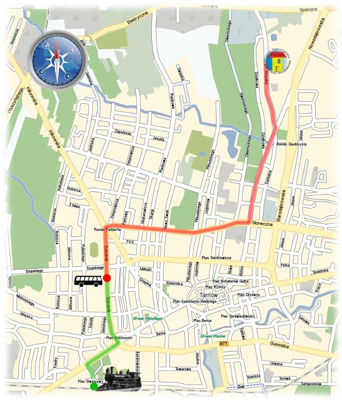 Mapa dojazdu do Powiatowej Poradni Psychologiczno-Pedagogicznej w Tarnowie