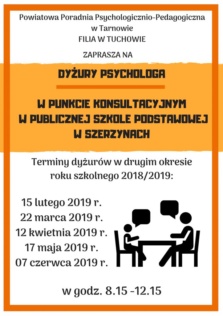 Zaproszenie na dyżury psychologa w punkcie konsultacyjnym w Publicznej Szkole Podstawowej w Szerzynach - Filia w Tuchowie