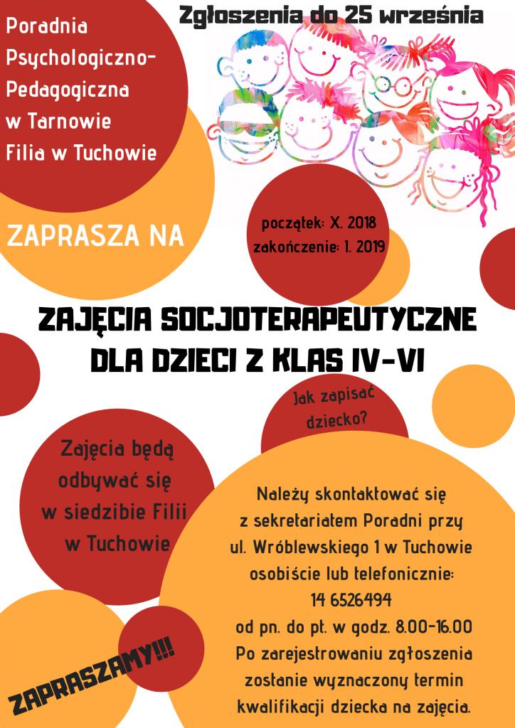 Zaproszenie na zajęcia socjoterapeutyczne dla dzieci z klas IV-VI w Filii PPPP w Tuchowie