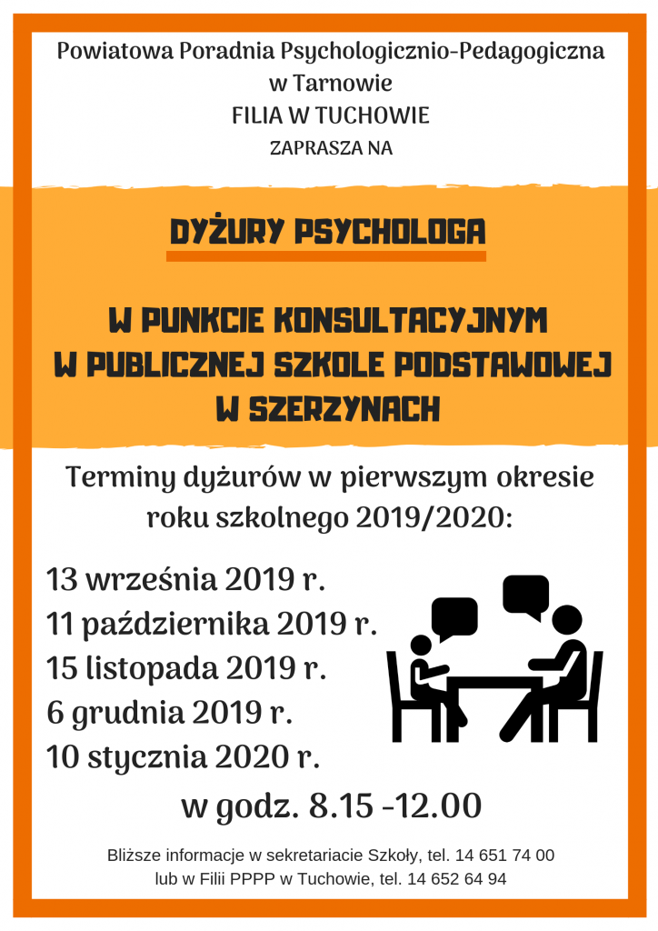 Zaproszenie na dyżury psychologa w Punkcie Konsultacyjnym w Publicznej Szkole Podstawowej w Szerzynach