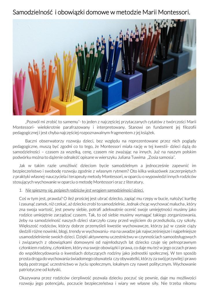 Samodzielność i obowiązki domowe w metodzie Marii Montessori