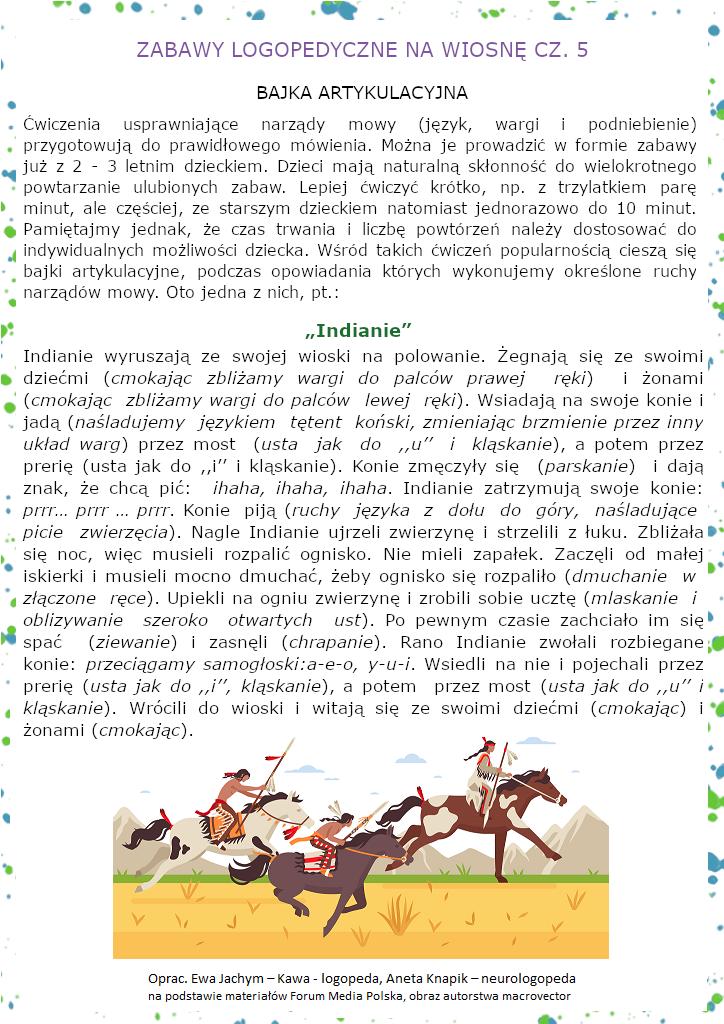 Zabawy logopedyczne na wiosnę - Bajka artykulacyjna