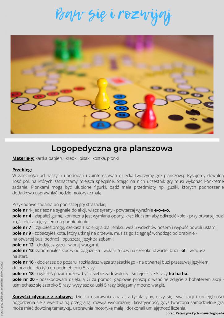 Baw się i rozwijaj - logopedyczna gra planszowa